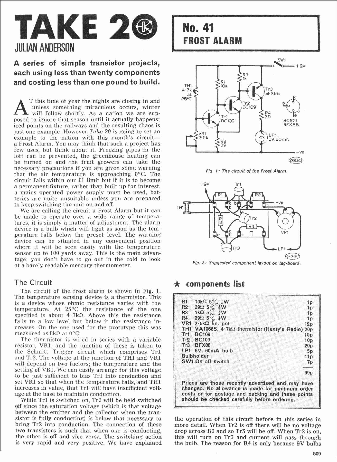 Vintage Radio And Electronics Take 20 Electronic Projects Frost Alarm